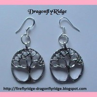 Antiqued Silver Celtic Tree of Life Earrings