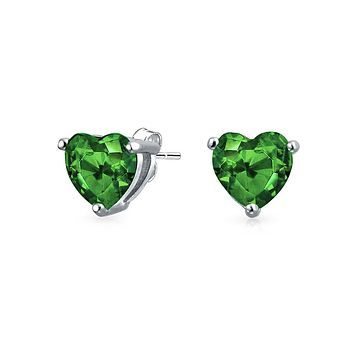 1CT Heart CZ Solitaire Stud Earrings Emerald 925 Sterling Silver