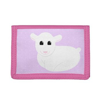 Sweet Smiling Lamb Drawing with Polka Dots Tri-fold Wallet