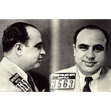 Al Capone Mug Shot poster Metal Sign Wall Art 8in x 12in
