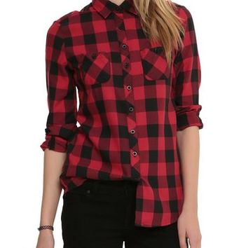Hot Topic Black And Red Plaid Top