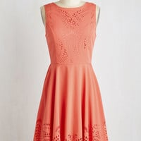 Mid-length Sleeveless A-line Invitation Designer Dress in Coral