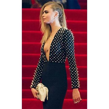 Point Blank Black Silver Spike Stud Long Sleeve Plunge V Neck Bodycon Bandage Midi Dress - Inspired by Cara Delevingne
