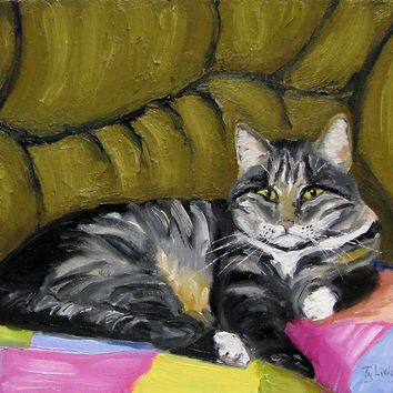 """""""Otto's Spot"""" Original Oil Painting,Cat in his spot, 8X10 by Ty Livingston"""