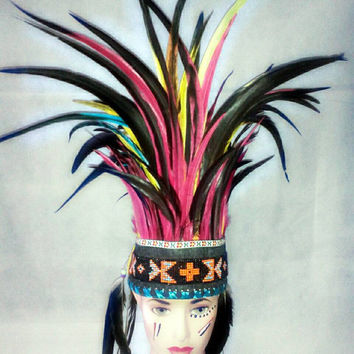 Rave Headdress, Warbonnet, Native American warbonnet, Festival clothing, Burning man, Feather Headdress, Indian headdress
