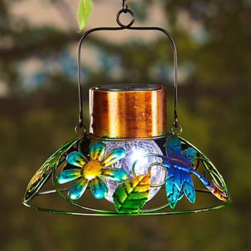 Dragonfly Solar Garden Hanging Lamp Crackled Glass Lawn Porch Deck Home Decor