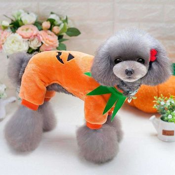 Halloween Pumpkin Cool Cute Dog Pet Cosplay Costume Coral Velvet Clothing