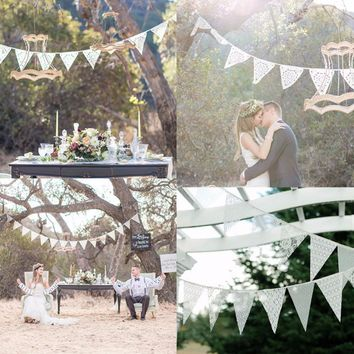 12 Lace Flags Strings Party Wedding Chriatmas Decoration Bunting Banner Pennant for Wedding Party Home Decor Event Party Suppliy