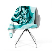 "Nl Designs ""Happy Engagement Tiffany"" Teal White Fleece Throw Blanket"