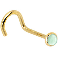 Solid 14KT Yellow Gold 2mm Aventurine Quartz Right Nostril Screw - 20 Gauge | Body Candy Body Jewelry