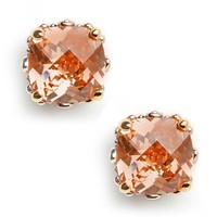 Peach Cushion Cut Studs