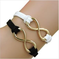 Rope Bracelet Black and White Gold Infinity