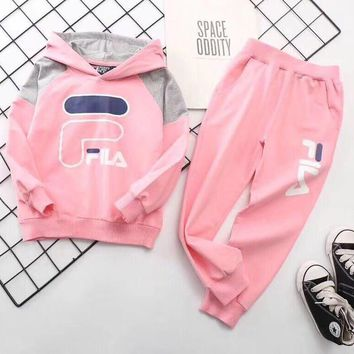 Fila Girls Boys Children Baby Toddler Kids Child Fashion Casual Top Sweater Pullover Hoodie Pants Trousers Set Two-Piece