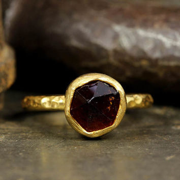 Raw Garnet Natural Gemstone, Rough Handcrafted Hammered Stack 24K Yellow Gold over 925 Solid Sterling Silver Stack Designer Stackable Ring