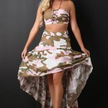 Camouflage Bandeau with High Low Skirt