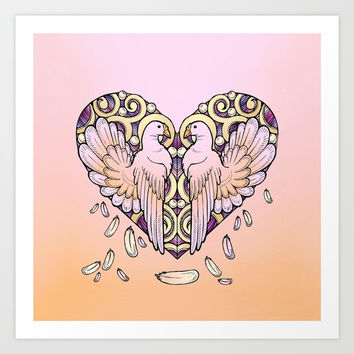 Lover Pigeons - Royal Heart Art Print by MIKART