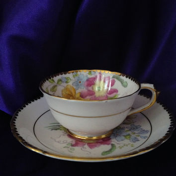 Tiny TUSCAN Fine English Bone China Teacup and Saucer Lively Hand Painted Floral Gold Trim Scalloped Edges Cottage Collectible
