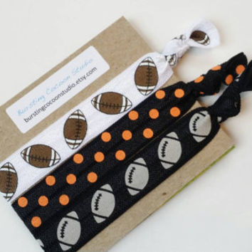 Black and orange hair ties, set of 3 elastic ponytail holders, black with gray footballs, FOE football hairties, orange and black football