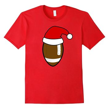 Funny FOOTBALL Santa Hat Christmas T Shirt
