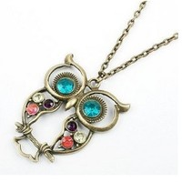 Vintage, Retro Colorful Crystal Owl Pendant and Chain with Antiqued Style