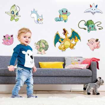 Pokemon Go Cartoon Wall Stickers for Kids Rooms Pikachu Wall Decal Art Mural Nursery Room Decor Chistmas Gift SM6