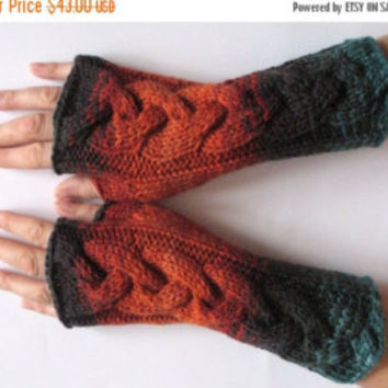 "Long Fingerless Gloves Gray 12"" Arm Warmers  Mittens Soft Acrylic"