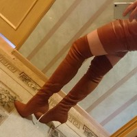 Suede Stiletto Heel Pointed Toe Autumn Winter Overknee Boots