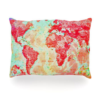 "Alison Coxon ""Oh The Places We'll Go"" World Map Oblong Pillow"