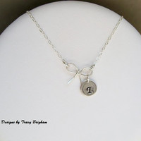 Personalized SS Initial Disc Bow Sterling Silver Wire Pendant Necklace Best Friend Bridesmaid Maid of Honor Mother Sister Gift