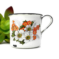 Miniature Enamelware Mug With Strawberry Flower Print - 1.75 inches, Souvenir Of Brazil, Enamel Cup, Enamel Mug, Miniature Mug, Small Cup