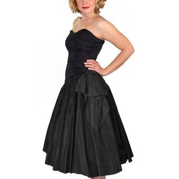 Vintage Black Strapless Cocktail Dress ShirredRayon & Taffeta 1950'S 34-26-Free
