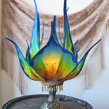Serene Blue Lotus Lamp