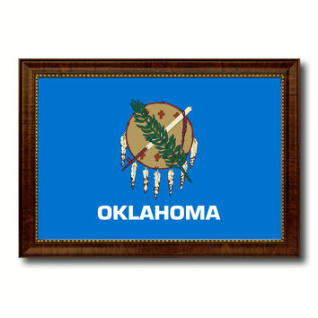 Oklahoma State Flag Canvas Print with Custom Brown Picture Frame Home Decor Wall Art Decoration Gifts