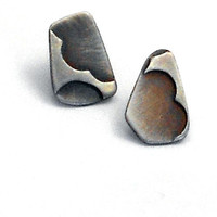 Mismatched Sterling Silver Post Earrings with Brushed Black Patina, One Of A Kind Geometric Jewelry, Oxidized Silver, Eco Friendly Jewelry