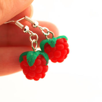 Raspberry Earrings, Polymer Clay Fimo Mini Food, Fruit jewelry, Miniature Food Jewellery, Miniature Raspberry, Berry Earrings. Kawaii Fruit