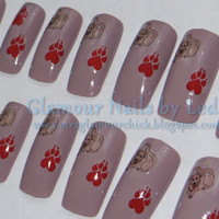 dog nail art, dog nail sticker, dog paw print sticker, medium length nails, paw print nail art, heart paw print, water decals, yellow lab