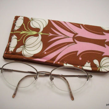 Padded Protective Pouch for Glasses Passion Lily Brown and Pink  Eyeglass Case