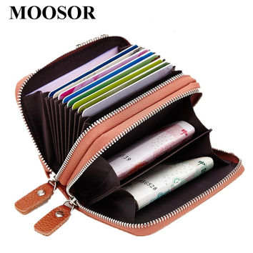 2017 Genuine Leather Women Men ID Card Holder Coin Purse Card Wallet Credit Card Business Card Holder Protector Organizer DC118