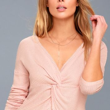 Perfect to Me Blush Pink Thermal Long Sleeve Crop Top