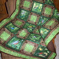 SALE: Lap Quilt, Song Birds, Green and Brown