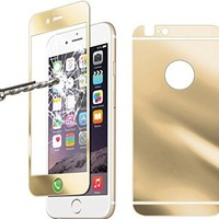 """Besgoods iPhone 6 screen protector, [ Tempered Glass ] Front + Back Screen Protector Guard Cover Skin Ultra-Clear Highest Quality Premium Anti-Scratch Anti-Fingerprint Anti-glare Bubble-free for iPhone 6 4.7"""" Inch (Gold)"""