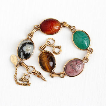Vintage 12k Rosy Yellow Gold Filled Scarab Bracelet - Retro 1950s Carved Beetle Bug Carnelian Chalcedony Gem Egyptian Revival Russel Jewelry