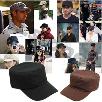 New Adjustable Classic Plain Vintage Army Cadet Style Cotton Cap Hat