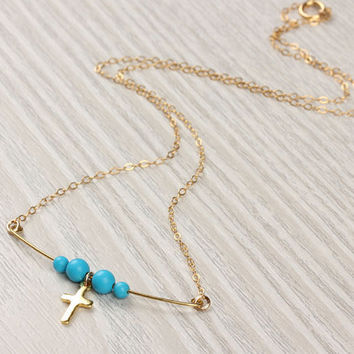 "Gold cross necklace, 14k gold filled cross necklace, turquoise necklace, tiny cross pendant,  faith necklace,  beaded necklace,  ""Aia"""