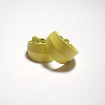 Vintage Yellow Clip on Earrings enamel hoop earrings summer style