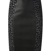 Lapis Italia leopard panel pencil skirt