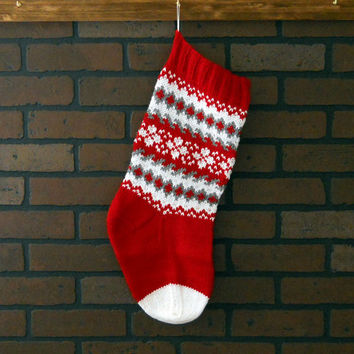 Hand Knit Christmas Stocking in Red, White and Grey, Traditional Fair Isle Design, Housewarming Gift, Wedding Gift, Baby Shower Gift
