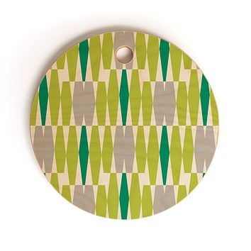 Heather Dutton Abacus Emerald Cutting Board Round