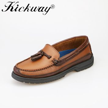 Kickway Men Loafers 2017 Mens casual shoes genuine leather boat shoes men leather mocassins round toe flat tassel size 11 12