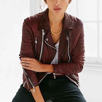 Doma Oxblood Quilted Leather Jacket- Maroon